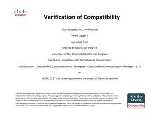 Cisco Compatibility Certificate